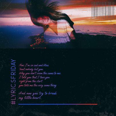 Instagram Post Design Generator Featuring Music Lyrics and a Sunset Color Palette 2756j