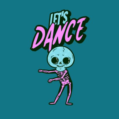 Clothing Brand Logo Maker with a Skeleton Doing a Funny Dance 3492g