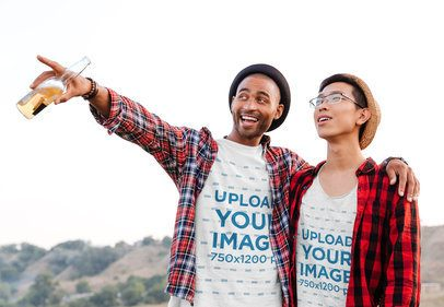 T-Shirt Mockup of Two Friends Looking at the Horizon 36234-r-el2