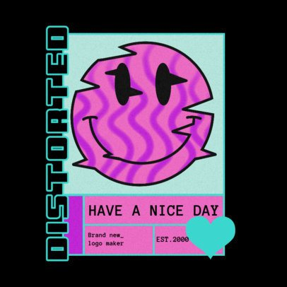 Urban Apparel Logo Maker Featuring a Glitched Smiley Emoticon 3484a