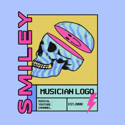 Streetwear Logo Template with a Fragmented Skull Graphic 3484b