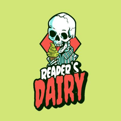 Logo Creator for an Urban Clothing Store Featuring a Skeleton Eating Ice Cream 3492l
