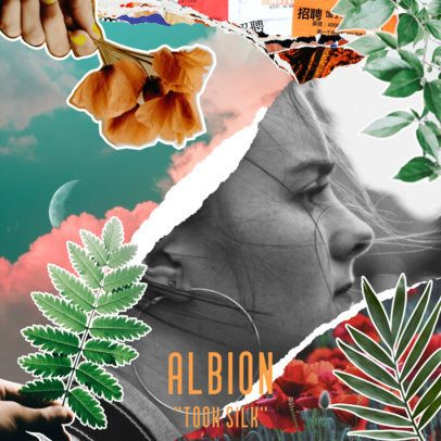 Music Album Cover Template Featuring Collage Elements from Nature 2763d