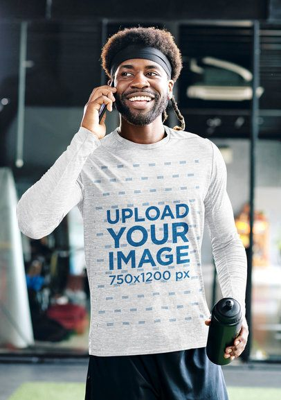 Long Sleeve Tee Mockup of a Man at the Gym Talking on the Phone 35811-r-el2