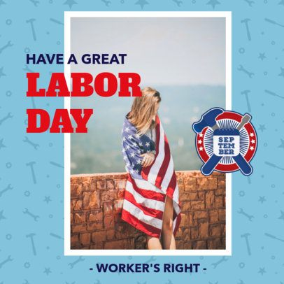 Instagram Post Maker for Labor Day Featuring Patriotic Pictures 2777