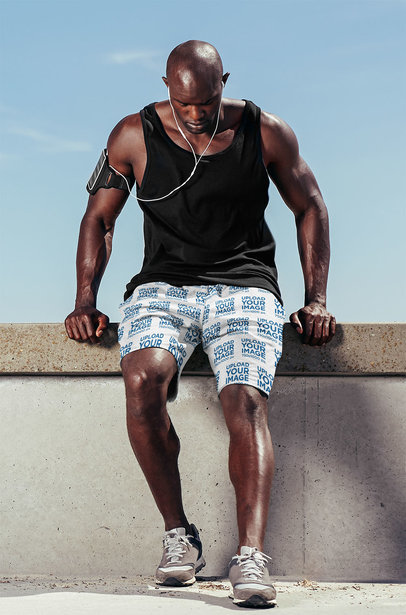 Shorts Mockup of a Muscular Man Resting Mid-Workout Session 38979-r-el2