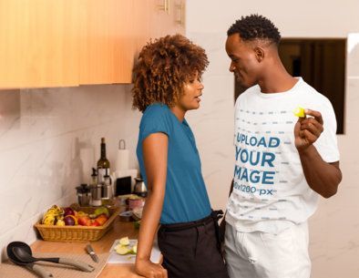 T-Shirt Mockup of a Man Talking with His Wife in the Kitchen 36398-r-el2