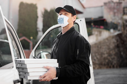 Mockup of a Delivery Man Wearing a Face Mask 38984-r-el2