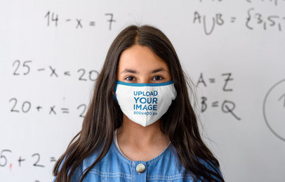 Mockup of a Girl With a Face Mask Standing in Front of a Whiteboard 39004-r-el2