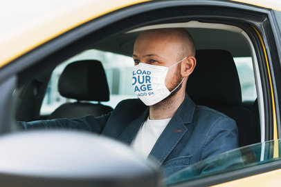 Mockup of a Man Wearing a Face Mask While Driving 39808-r-el2