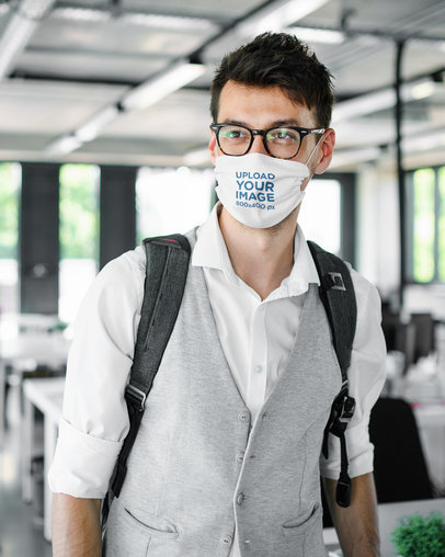Mockup of a Man Wearing a Face Mask at the Airport 39000-r-el2