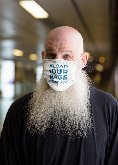 Mockup of a Bearded Man Wearing a Face Mask 39946-r-el2