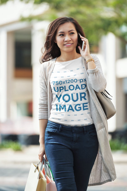 Tee Mockup of a Woman Talking on the Phone 38633-r-el2