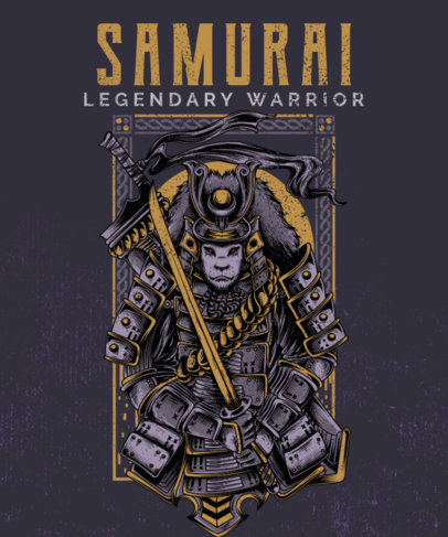 T-Shirt Design Maker with an Illustrious Samurai Warrior 2415a-el1