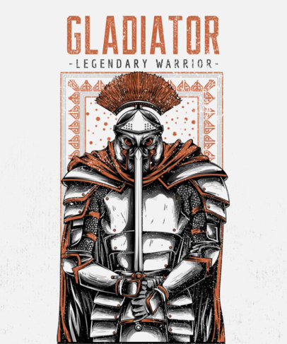 Illustrated T-Shirt Design Featuring a Legendary Gladiator 2451d-el1