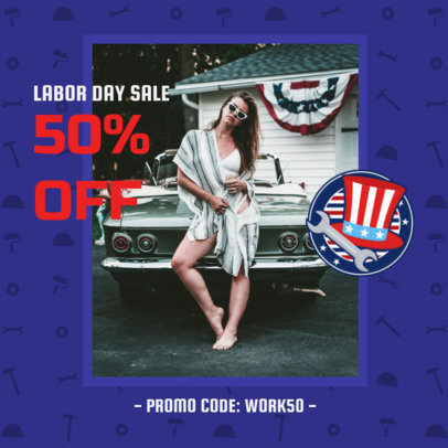 Instagram Post Creator for Labor Day Sale Featuring a Patriotic Icon 2777c