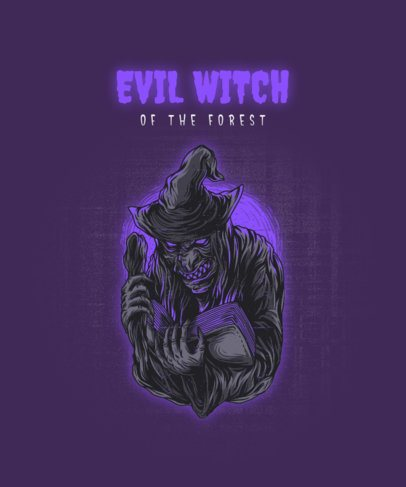 T-Shirt Design Template with an Evil Witch Graphic 2424b-el1