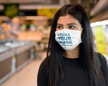 Face Mask Mockup of a Woman at the Grocery Store 39960-r-el2