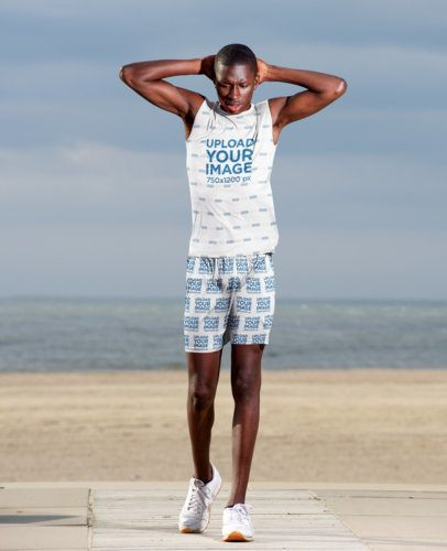 Mockup of an Athlete Wearing Sublimated Shorts and Tank Top 38833-r-el2