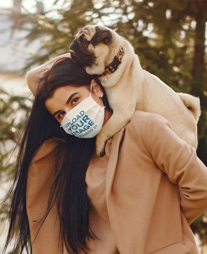 Face Mask Mockup of a Woman Carrying Her Dog 39907-r-el2