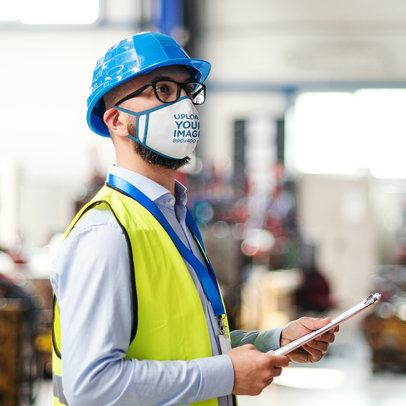 Mockup of a Worker Wearing a Face Mask 39914-r-el2