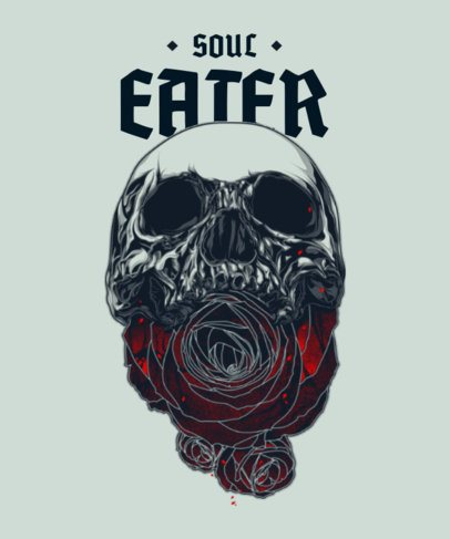 T-Shirt Design Template Featuring Dark Skull Graphics 2400-el1