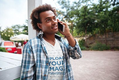 V-Neck T-Shirt Mockup of a Man on the Phone 38965-r-el2