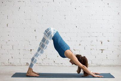 Sublimated Leggings Mockup of a Woman Doing a Downward Dog Yoga Pose 35022-r-el2