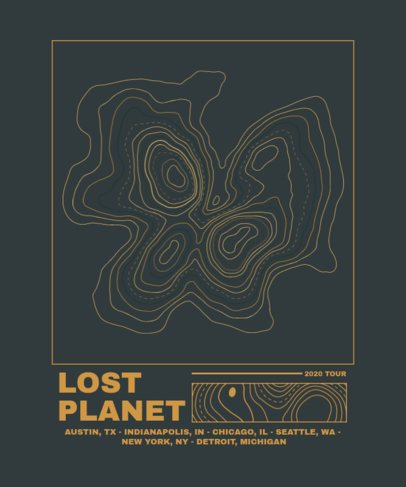 T-Shirt Design Maker Featuring a Topographic Map for a Music Tour Souvenir 2313b-el1