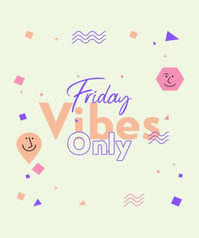 T-Shirt Design Creator with a Friday Vibe Quote and Geometric Shapes 2770f