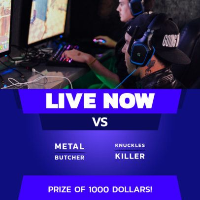 Social Media Post Maker to Announce a Live Gaming Match 2453b-el1