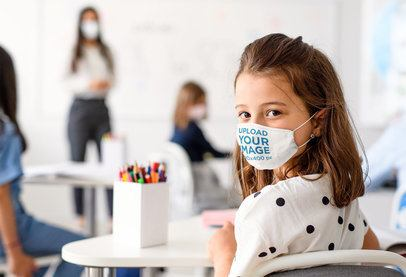 Mockup Featuring a Girl Wearing a Face Mask in a Classroom 39012-r-el2