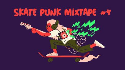 Illustrated YouTube Thumbnail Template for a Skate Punk Mixtape 2773b