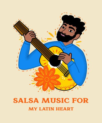 Illustrated T-Shirt Design Creator Featuring a Latin Singer Playing Guitar 2779f