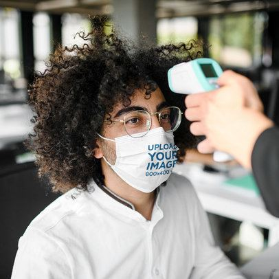 Mockup of a Curly-Haired Man Wearing a Face Mask 39658-r-el2