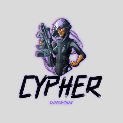 Gaming Logo Maker Featuring a Female Shooter from a Cyberpunk World 3522d