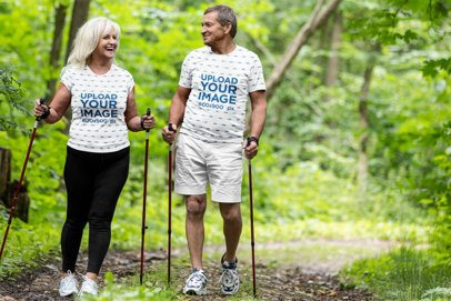 Sublimated T-Shirt Mockup Featuring a Senior Couple Hiking 35127-r-el2