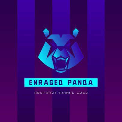 Gaming Logo Template Featuring an Enraged Panda Graphic 3515b