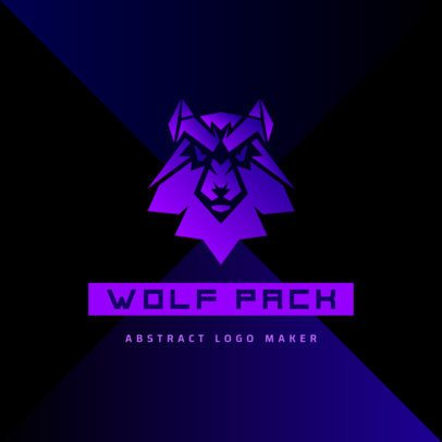 Online Logo Maker Featuring a Wolf Graphic in Gradient Tones of Purple 3515h
