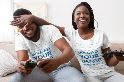 T-Shirt Mockup of a Woman Playing Video Games with Her Boyfriend 38821-r-el2