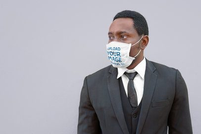 Mockup of an Elegant Man Wearing a Face Mask 39963-r-el2