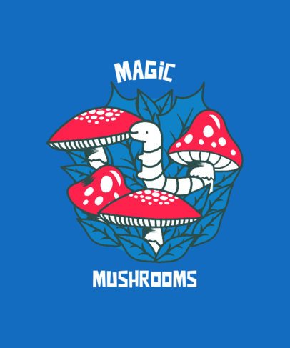 Illustrated T-Shirt Design Generator Featuring Magic Mushrooms and a Cute Worm 2781j