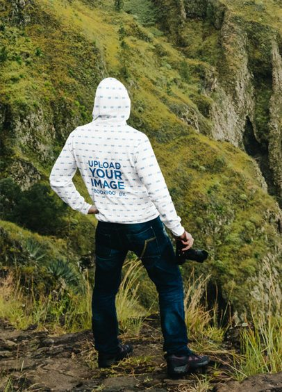 Hoodie Mockup of a Man Taking Pictures on a Hike 36169-r-el2