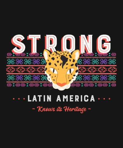 T-Shirt Design Maker Featuring a Cheetah Graphic with a Latin American Pattern 2778e