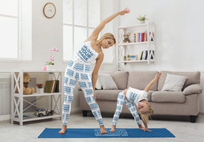 Tank Top and T-Shirt Mockup of a Mom and Her Daughter Sharing a Yoga Mat with Leggings 34874-r-el2