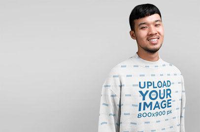 Studio Mockup of a Man Wearing a Sublimated Sweatshirt 40062-r-el2