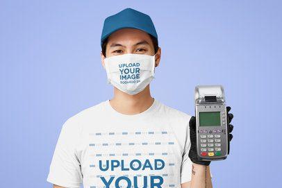 T-Shirt Mockup of a Cashier Wearing a Face Mask 41264-r-el2