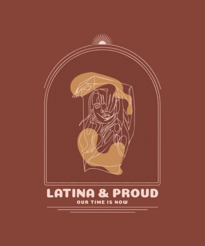 T-Shirt Design Template Featuring a Proud Latin Woman Single-Line Illustration 2478a-el1