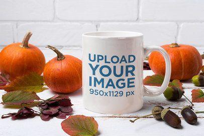 Mockup Featuring an 11 oz Mug Surrounded by Pumpkins 37284-r-el2
