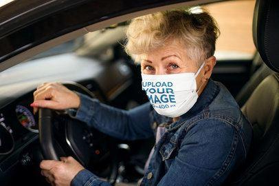 Face Mask Mockup of a Senior Woman Driving a Car 40422-r-el2
